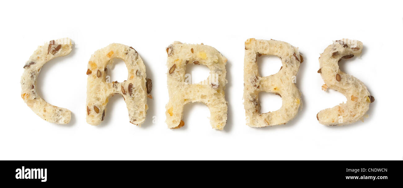 Carbs message in bread - Stock Image