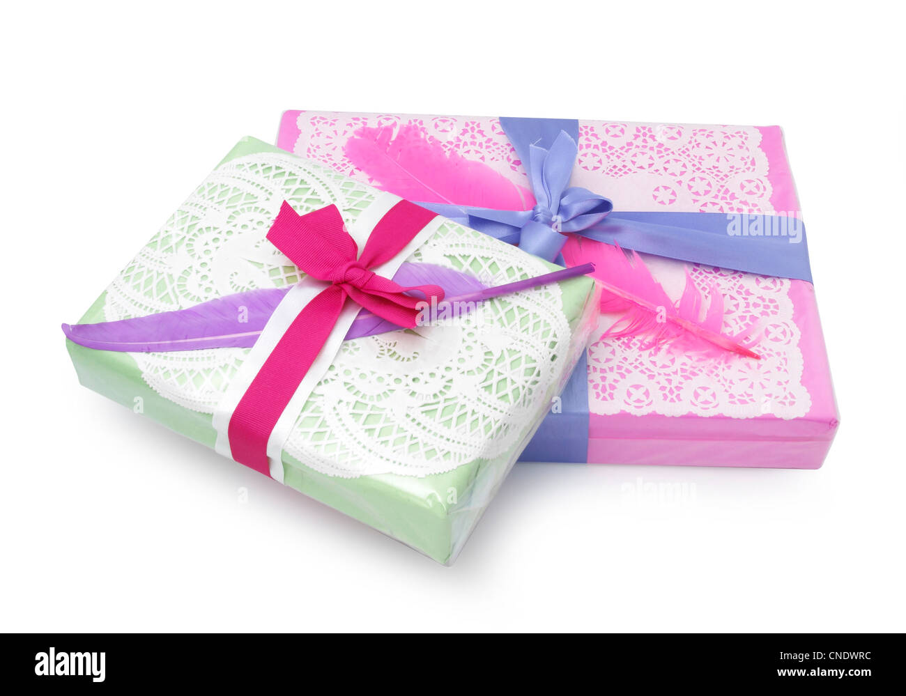 Two gift wrapped presents stock photo 47634144 alamy two gift wrapped presents negle Images