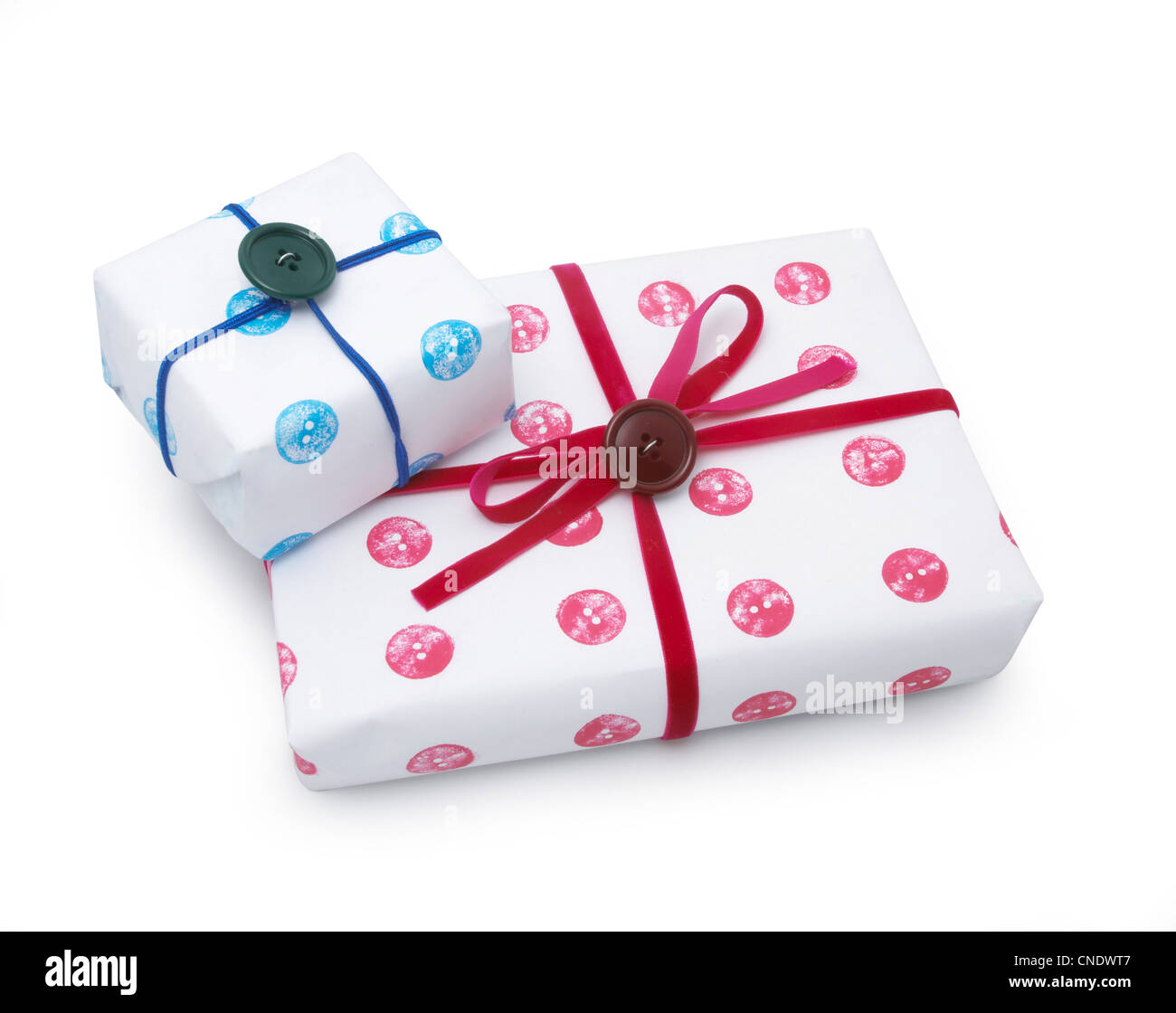 Two gift wrapped presents stock photo 47634167 alamy two gift wrapped presents negle Images