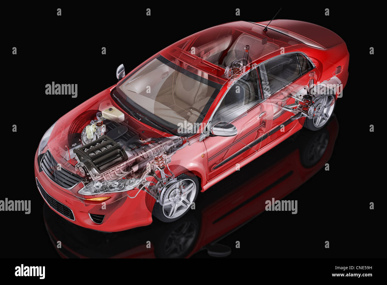 Generic Red sedan car detailed cutaway representation, with ghost effect, on black background. Clipping path included. - Stock Image