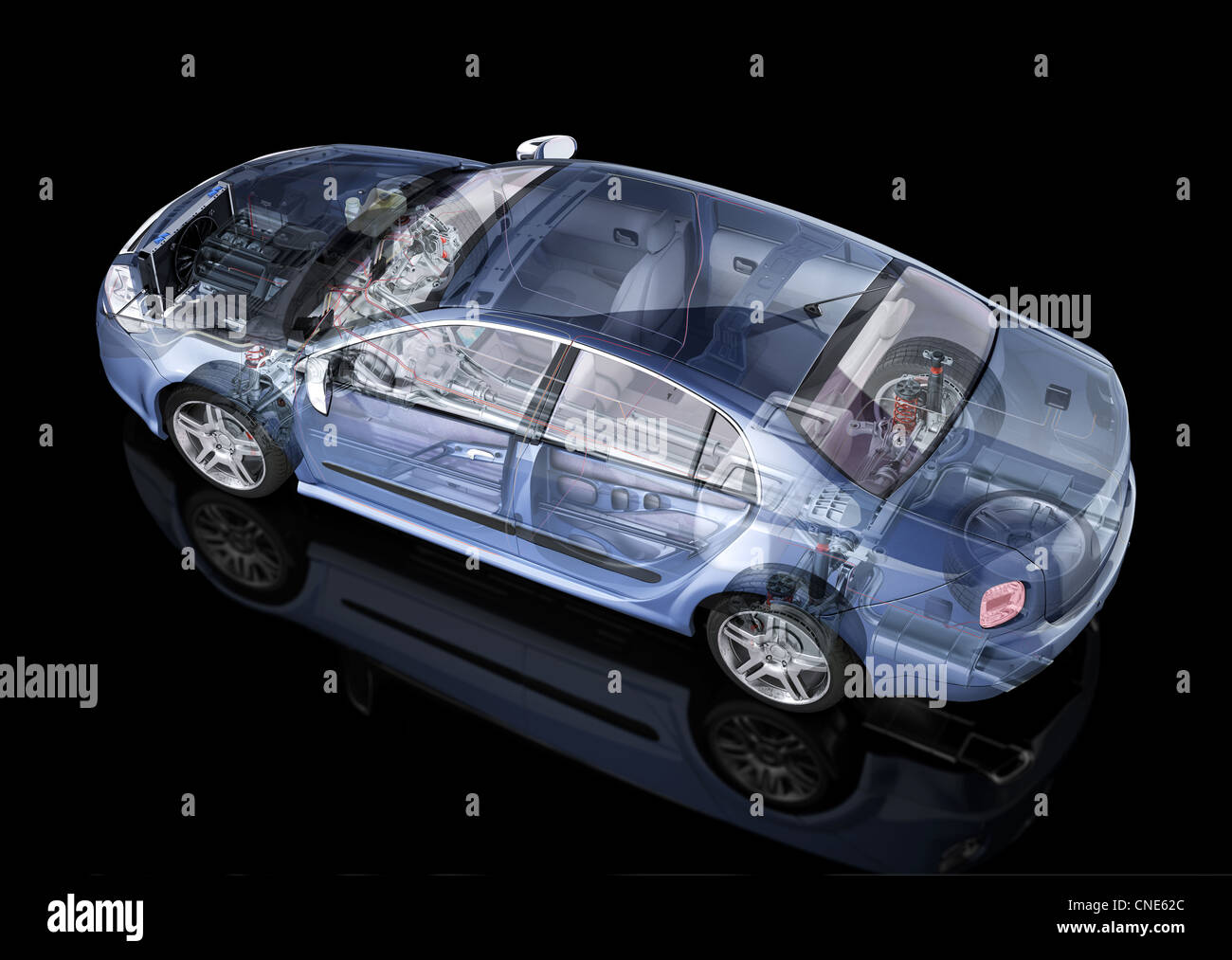 Generic sedan car detailed cutaway representation, with ghost effect, on black backgound. Side/Rear perspective - Stock Image