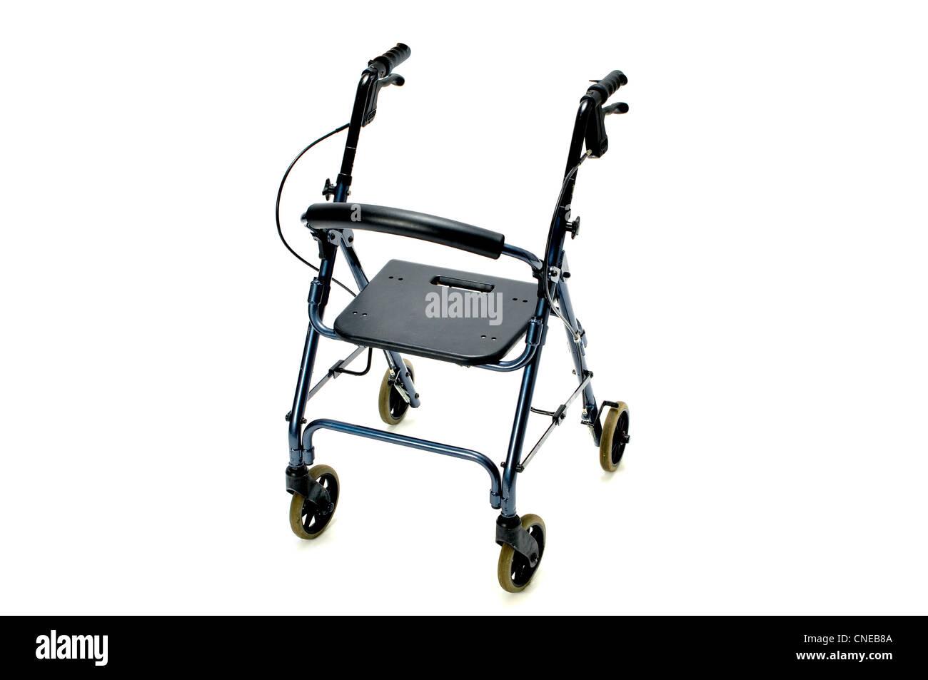 rolling walker on white - Stock Image