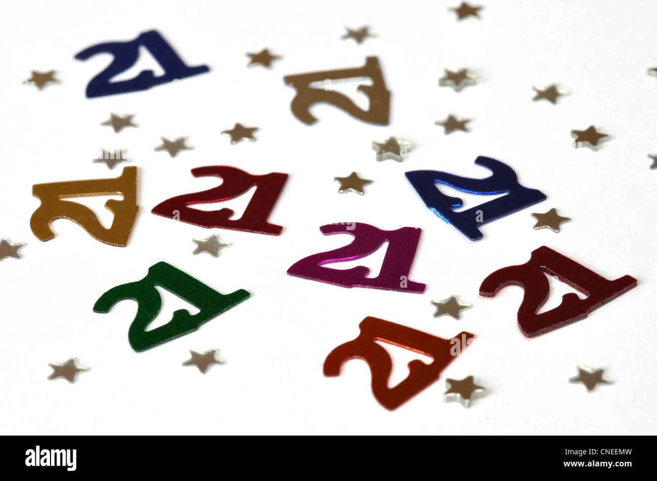 Birthday decorations showing glitter for a 21 year birthday - Stock Image