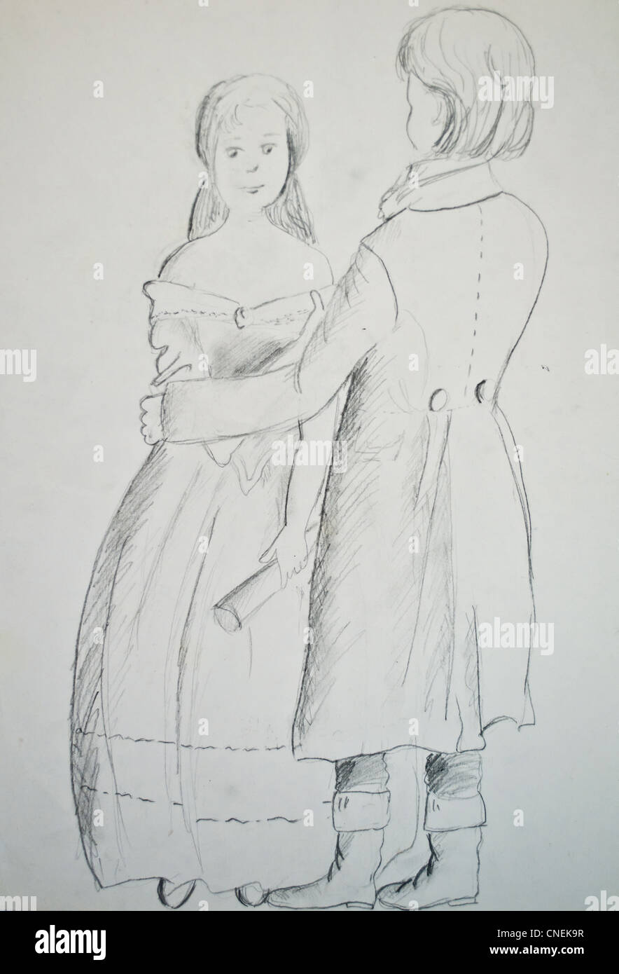 Pencil sketch of couple in love stock photo 47651011 alamy