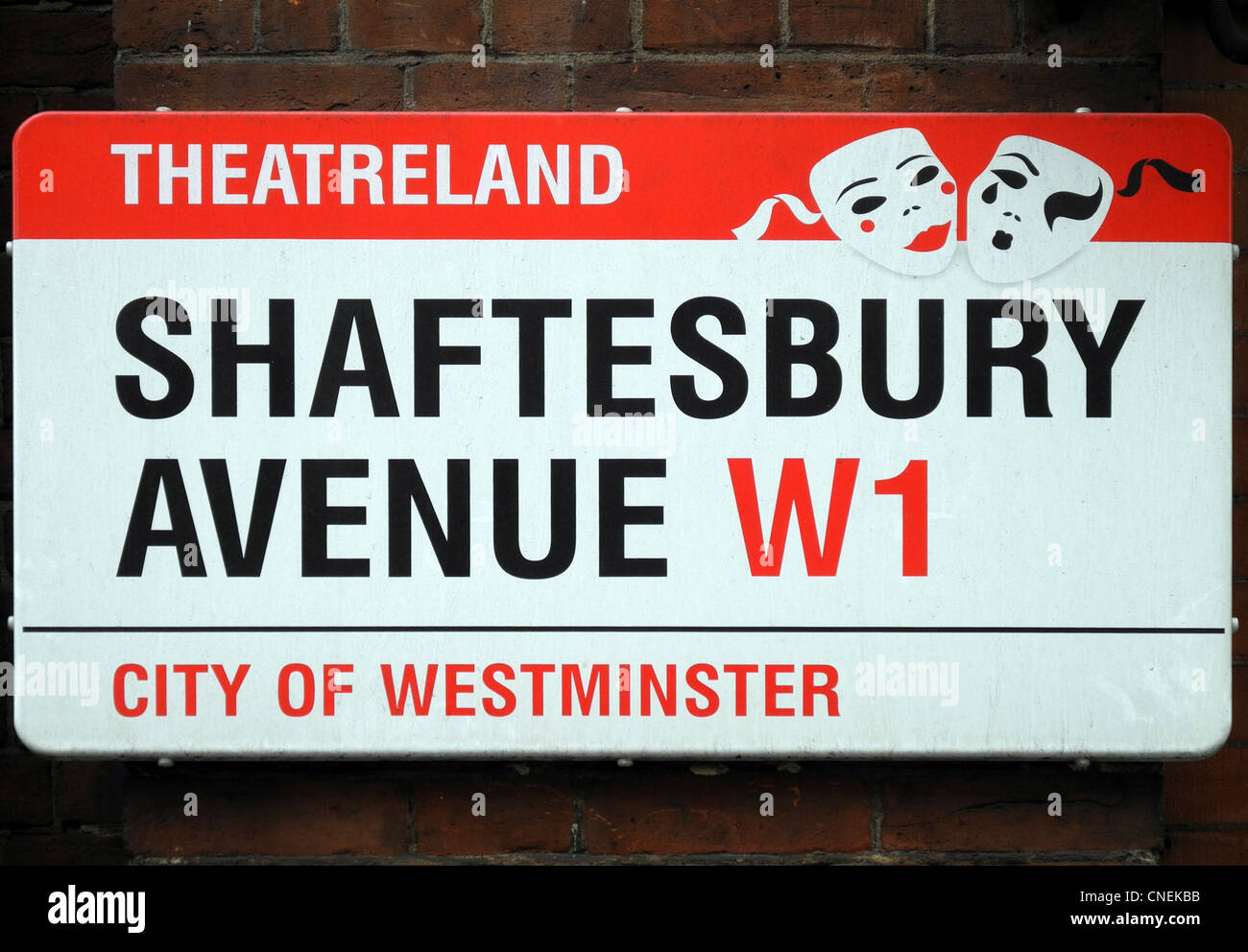 Sign for Shaftesbury Avenue London - Stock Image