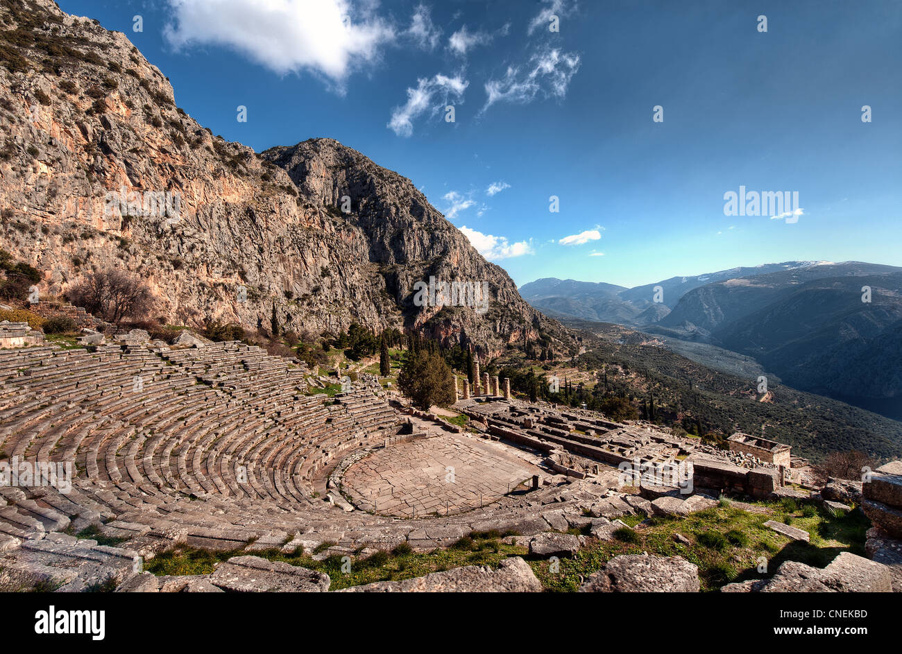 The 2,500 year-old open-air theater at the ancient Greek site of Delphi, Greece. Stock Photo
