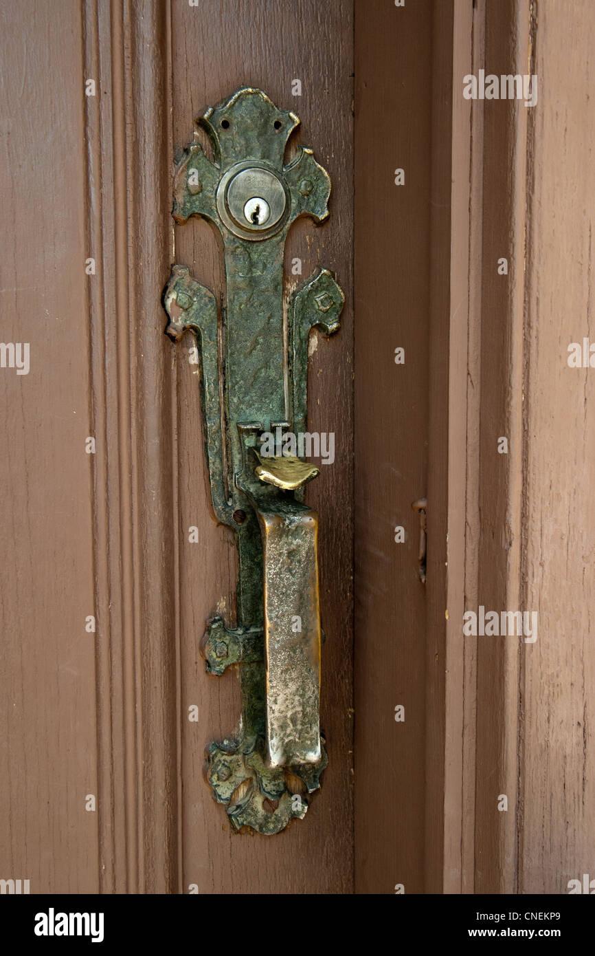 Brass Building Church Cross Door Door Handle Doorway God Jesus Religion - Stock Image