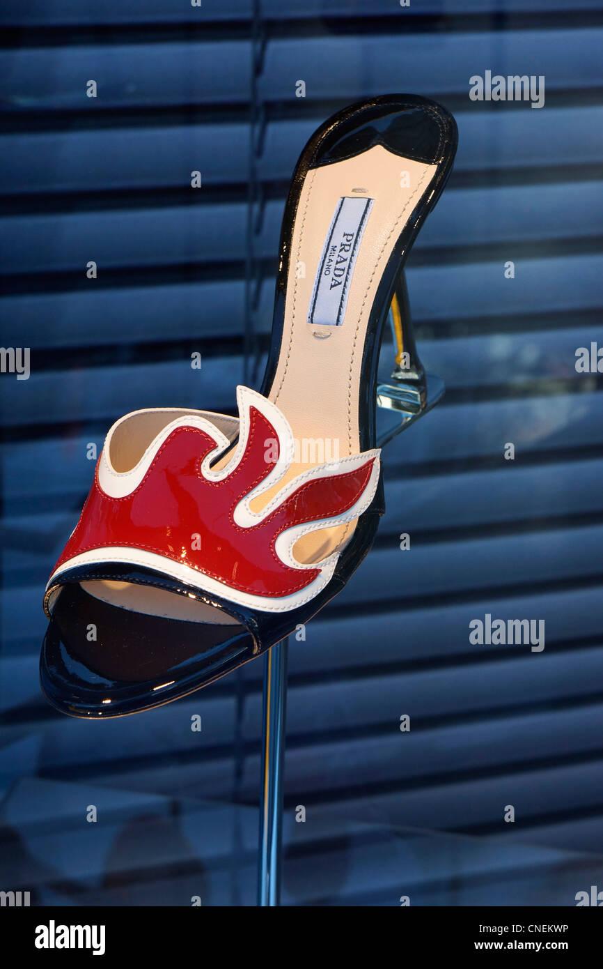 Prada Shoe, in Store Display Stock Photo