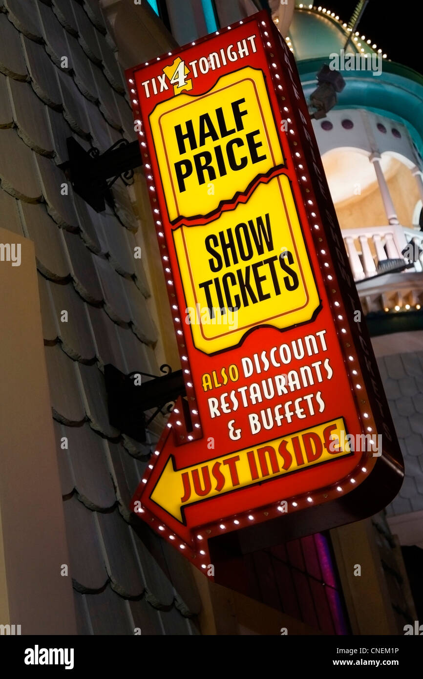 Sign for Ticket Sales, Las Vegas, Nevada, USA - Stock Image