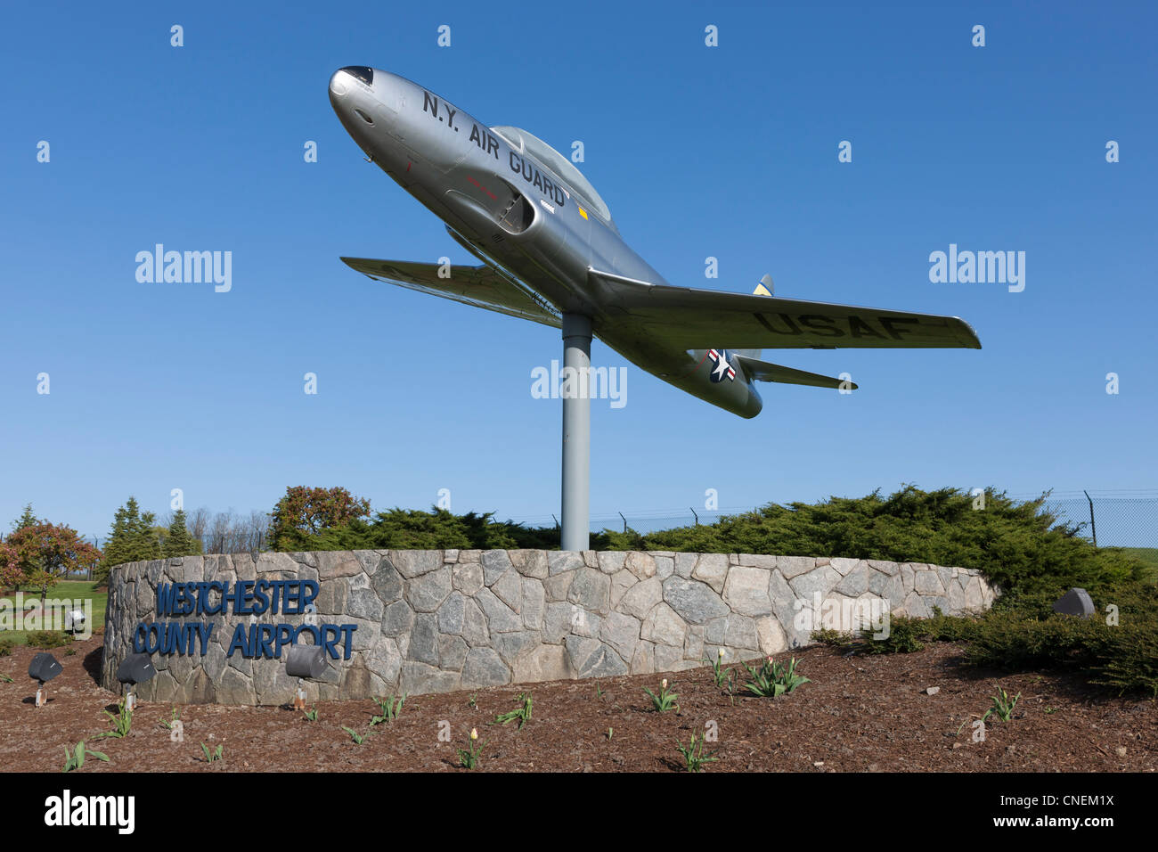 New York Air National Guard Lockheed T-33 at the entrance to the Westchester County Airport near White Plains, New - Stock Image
