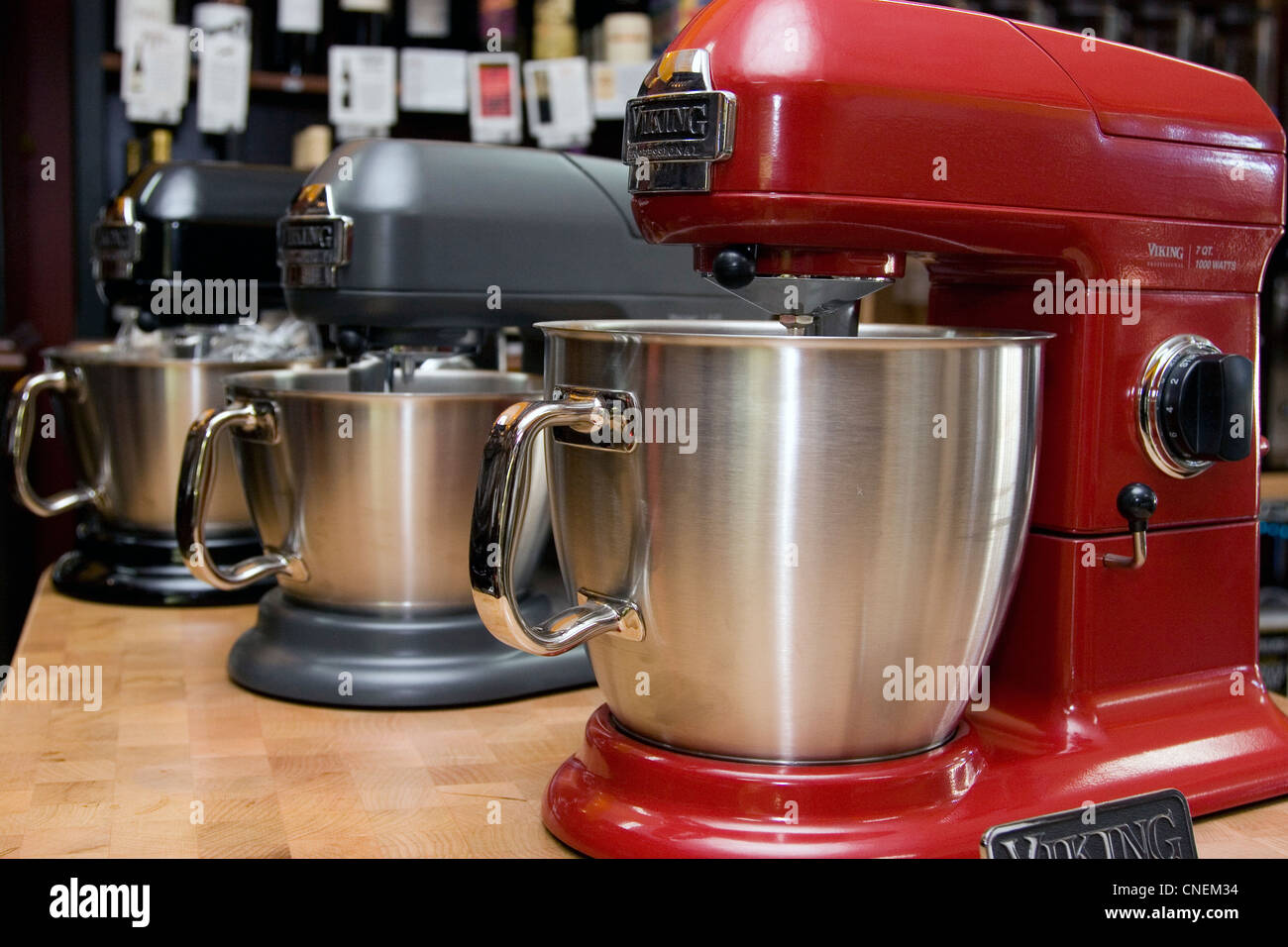 Viking electric mixers in store, electric kitchen appliance - Stock Image