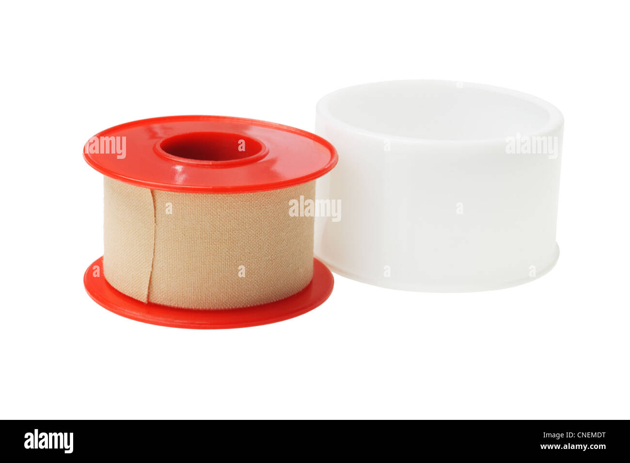 Roll of Medical Sticking Plaster on White Background - Stock Image