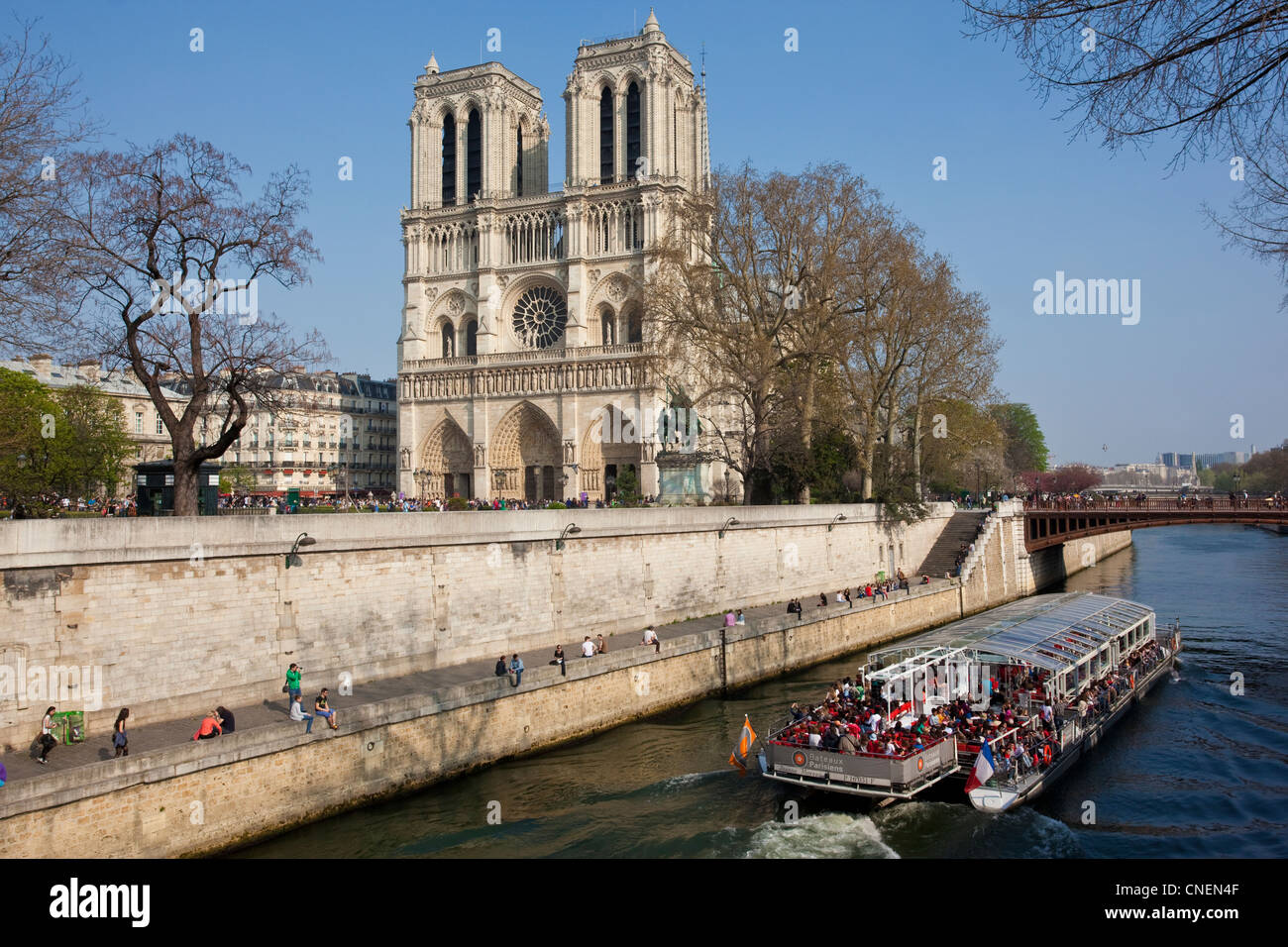 Tourist boat on River Seine passes the Notre Dame with Pont au Double in the distance, Paris, France - Stock Image