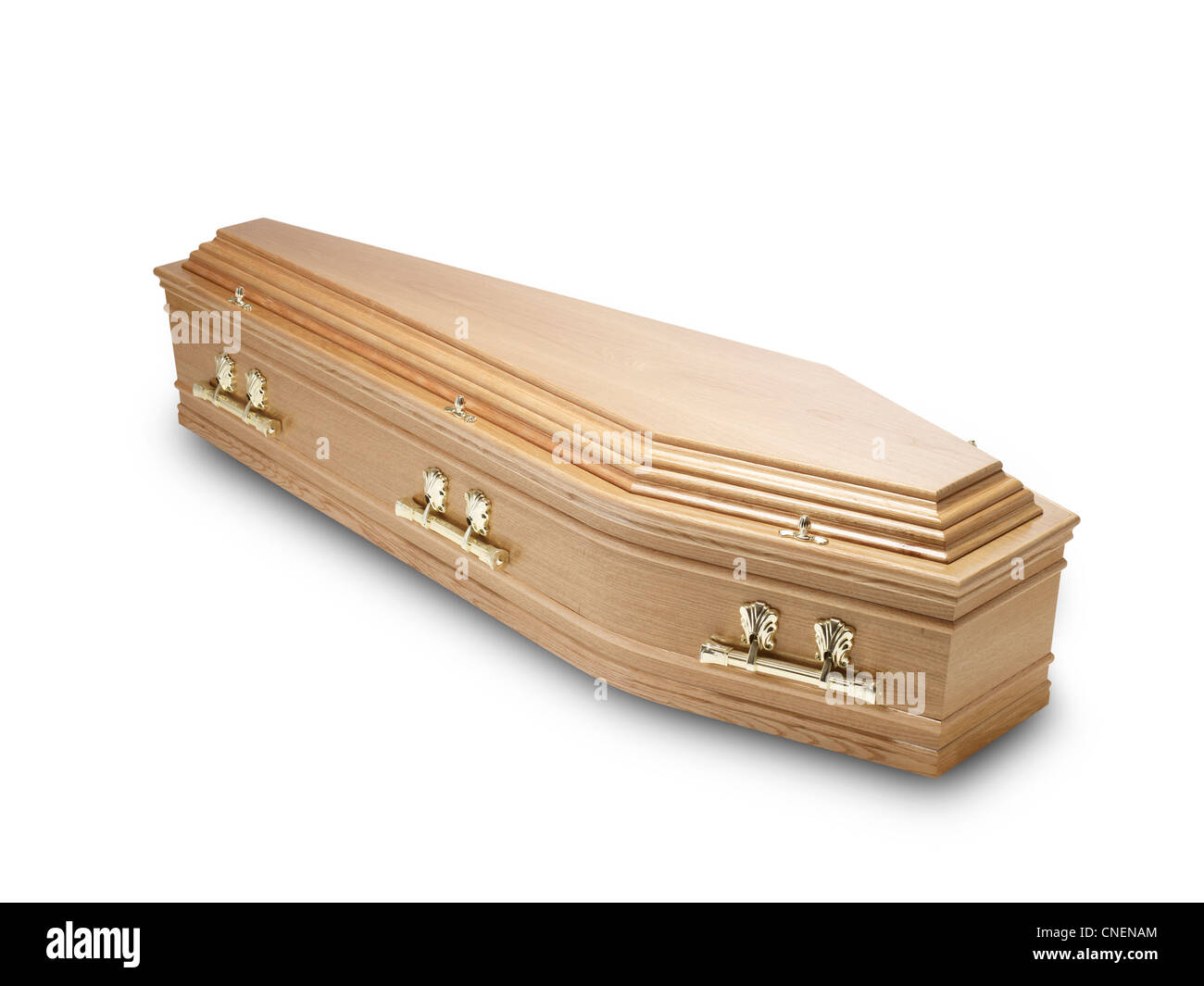 an oak coffin casket isolated on white with clipping path - Stock Image