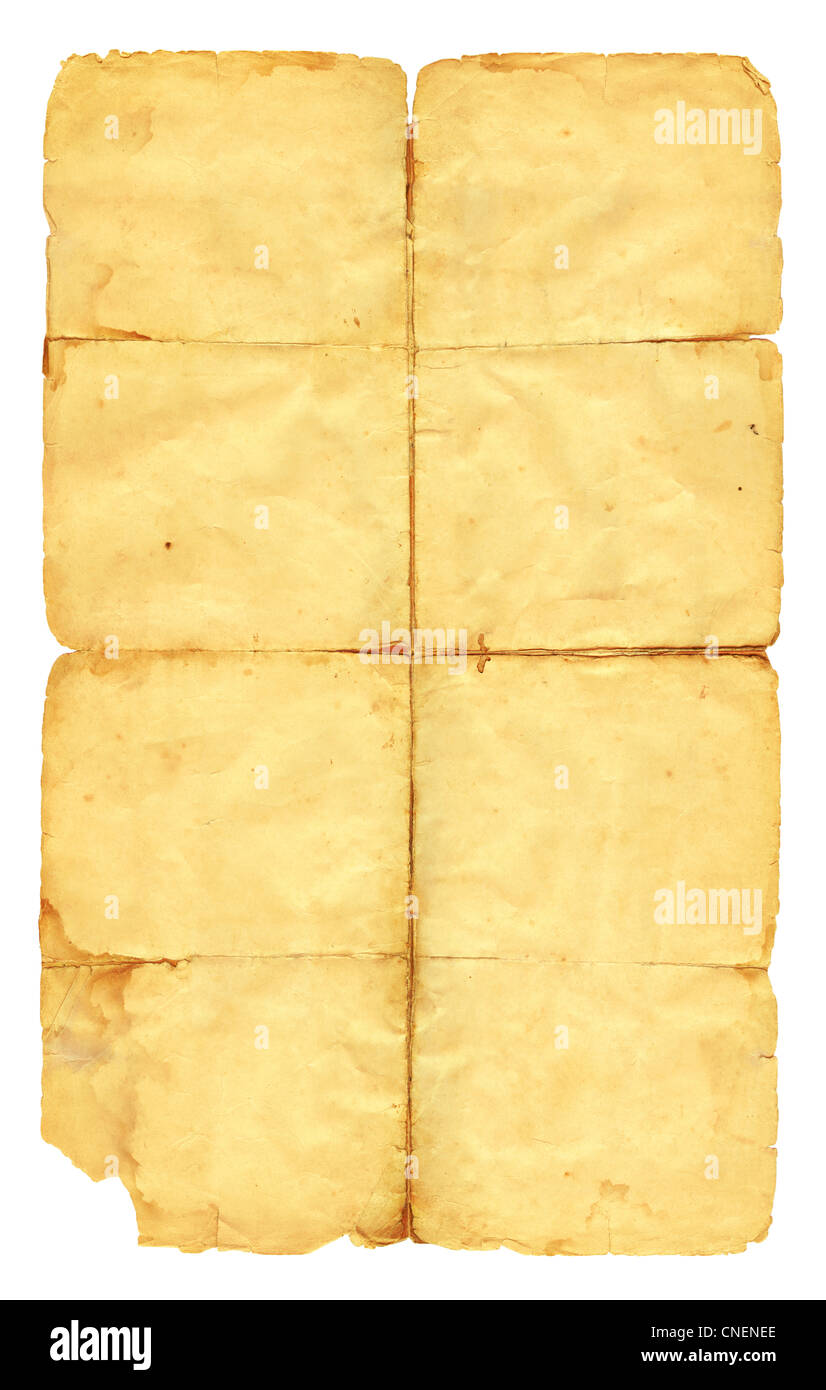Vintage paper isolated on white background. - Stock Image