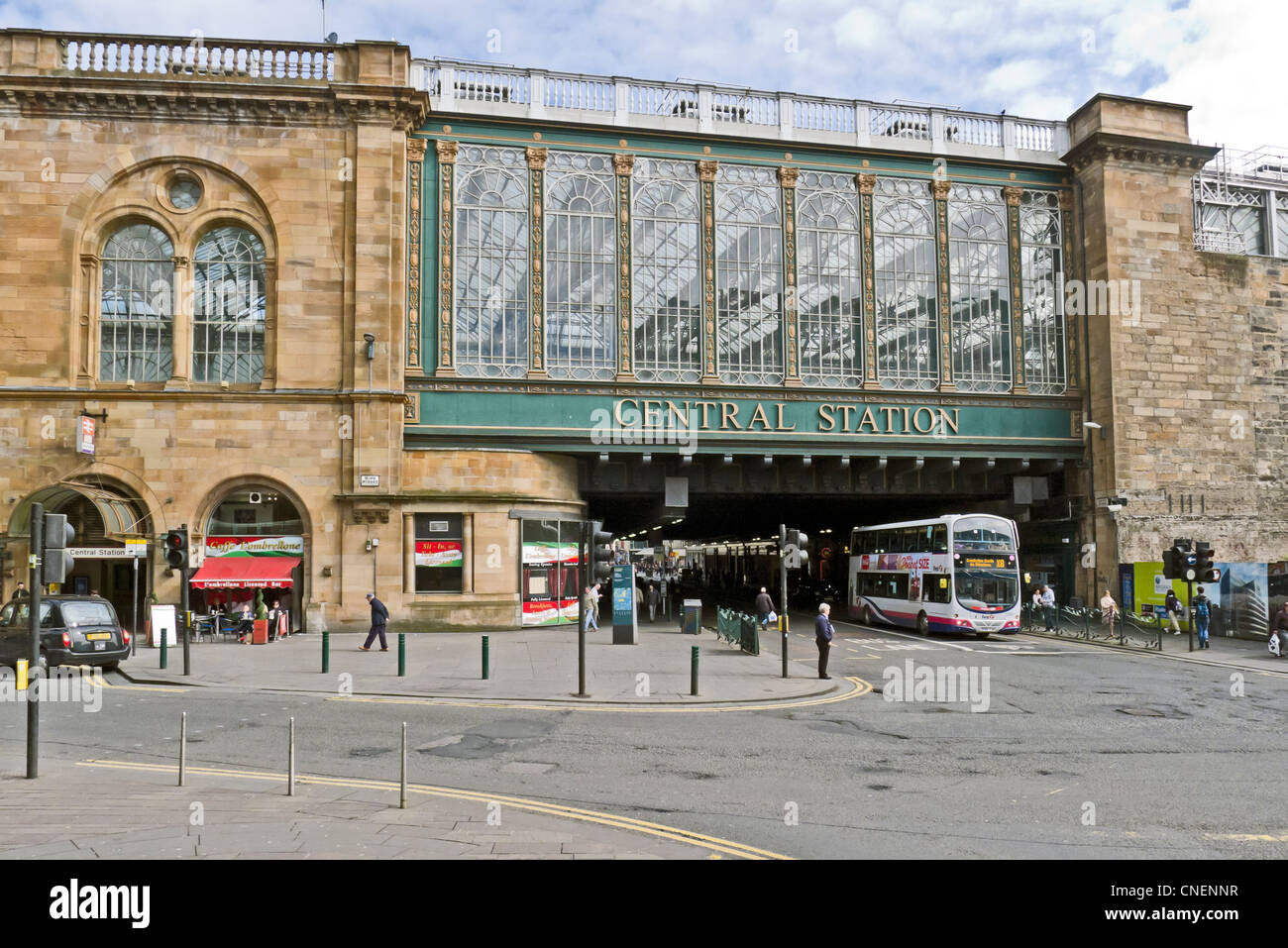 Glasgow Central railway Station spanning Argyle Street in Glasgow Scotland as seen from the west side of the station. - Stock Image