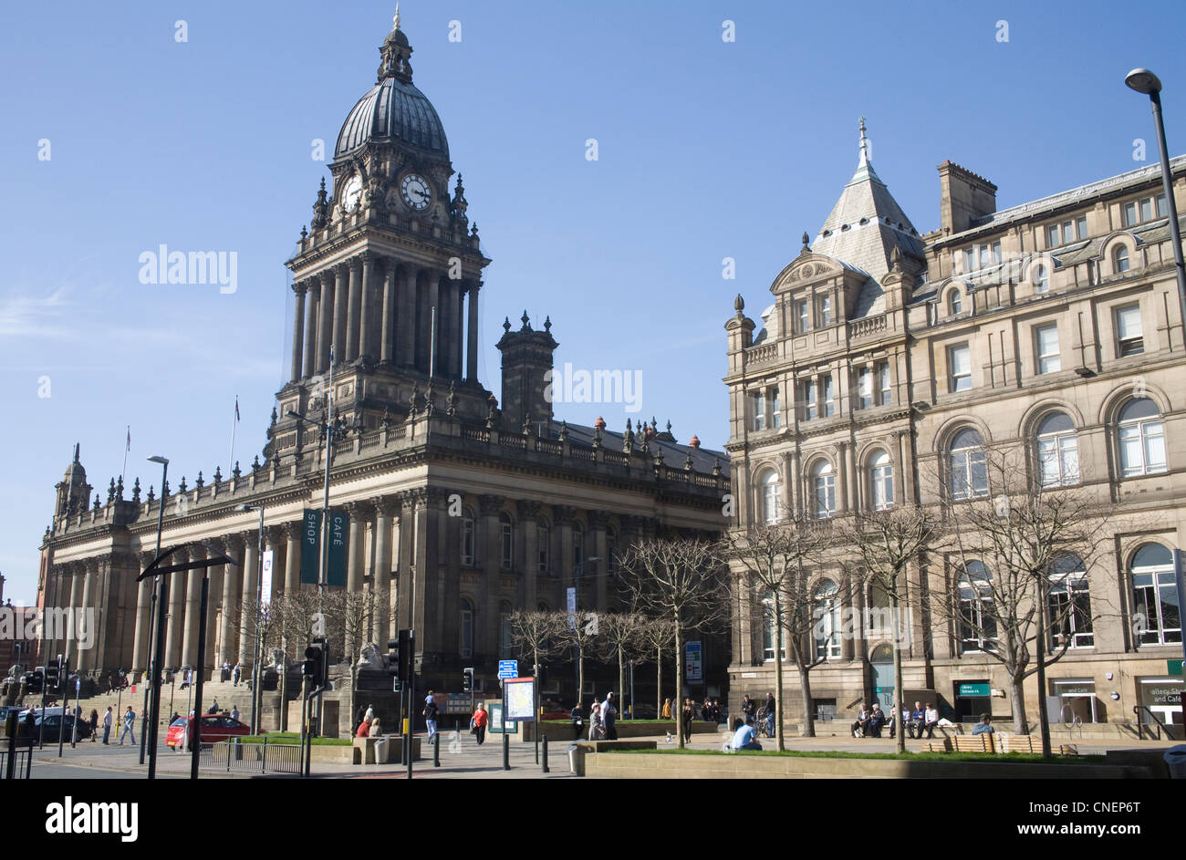 Leeds West Yorkshire England Art Gallery Library cafe bookshop and Town Hall in The Headrow - Stock Image
