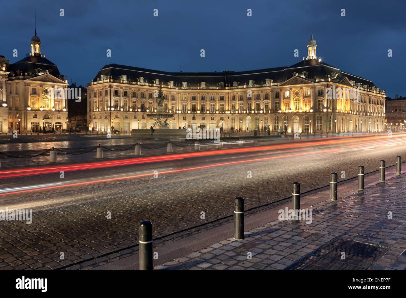 Bourse square, Bordeaux, Aquitaine, France - Stock Image