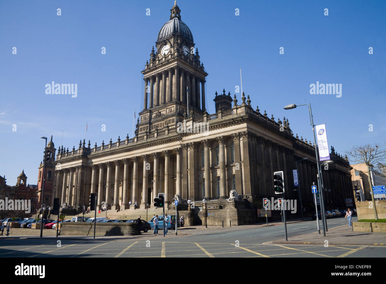Leeds West Yorkshire England Town Hall and Register Office in The Headrow - Stock Image