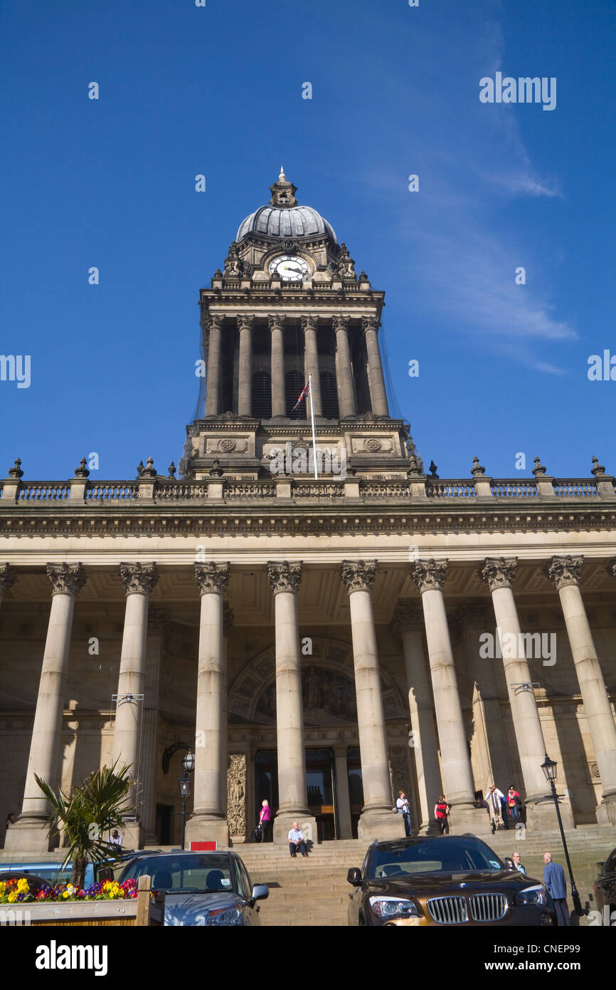 Leeds West Yorkshire England Grade 1 listed building housing Town Hall and Register Office in The Headrow - Stock Image