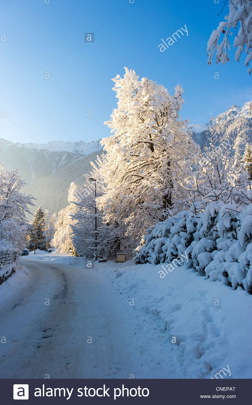 Chamonix is a commune in the Haute-Savoie département in the Rhône-Alpes region in south-eastern France. Stock Photo