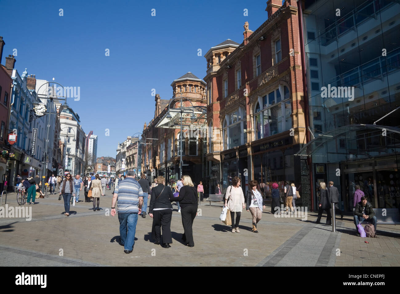 Leeds West Yorkshire View along the very busy Briggate in the Victoria Quarter - Stock Image