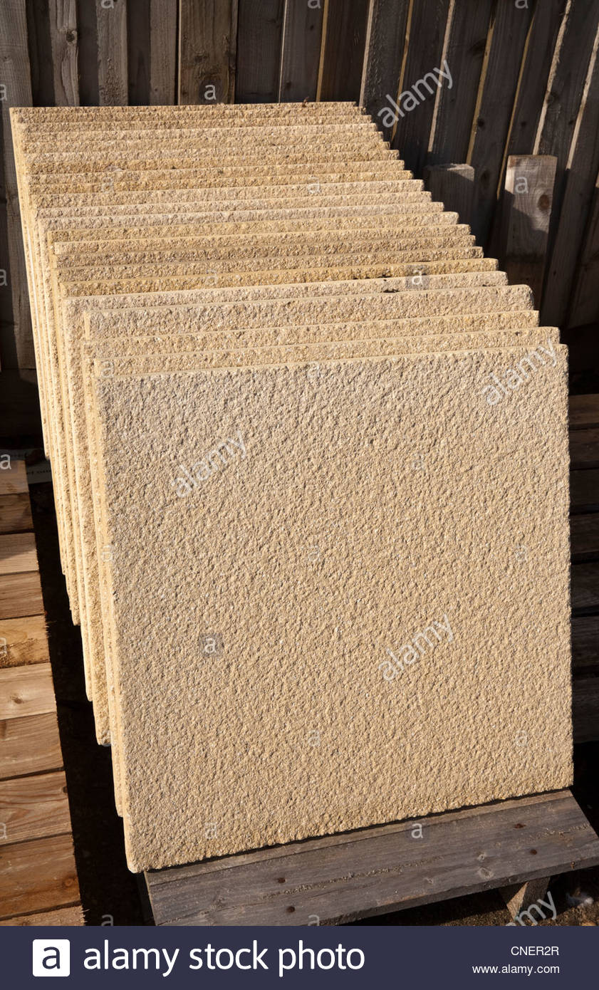Square paving slabs in a garden centre Stock Photo