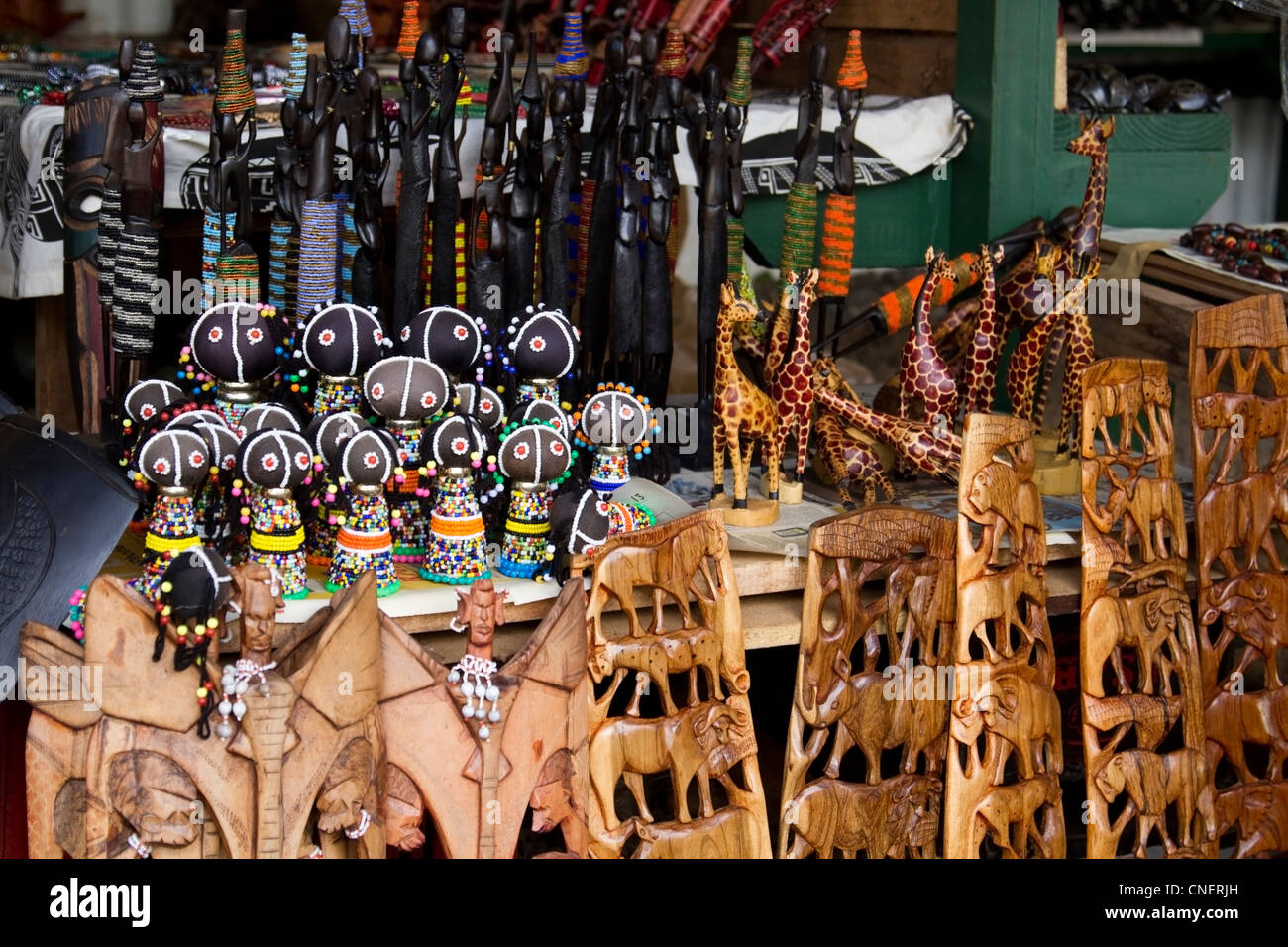 Curio stall in Pilgrim's Rest, Mpumalanga - Stock Image