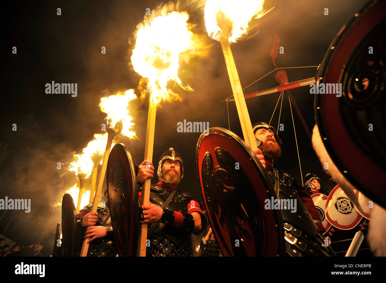 Up Helly Aa festival in Lewrwick, Shetland Islands. Up to two thousand men take part in the Viking fire festival. - Stock Image