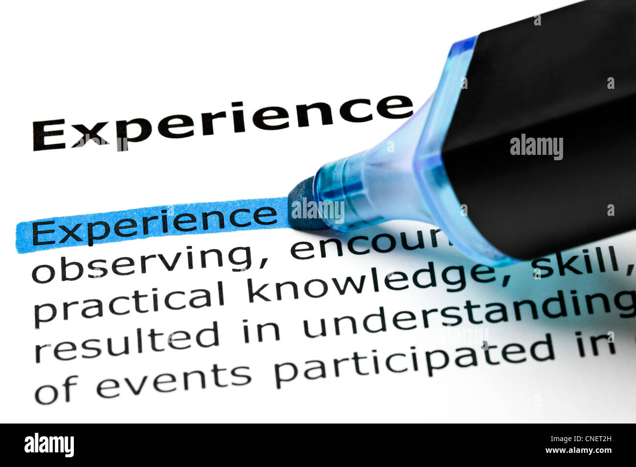 The word Experience highlighted in blue with felt tip pen - Stock Image