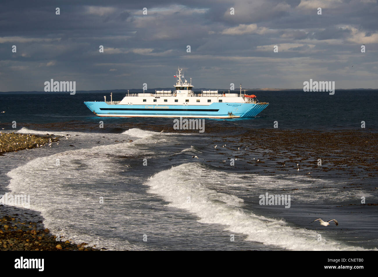 Passenger and car ferry Southern Patagonia Chile - Stock Image