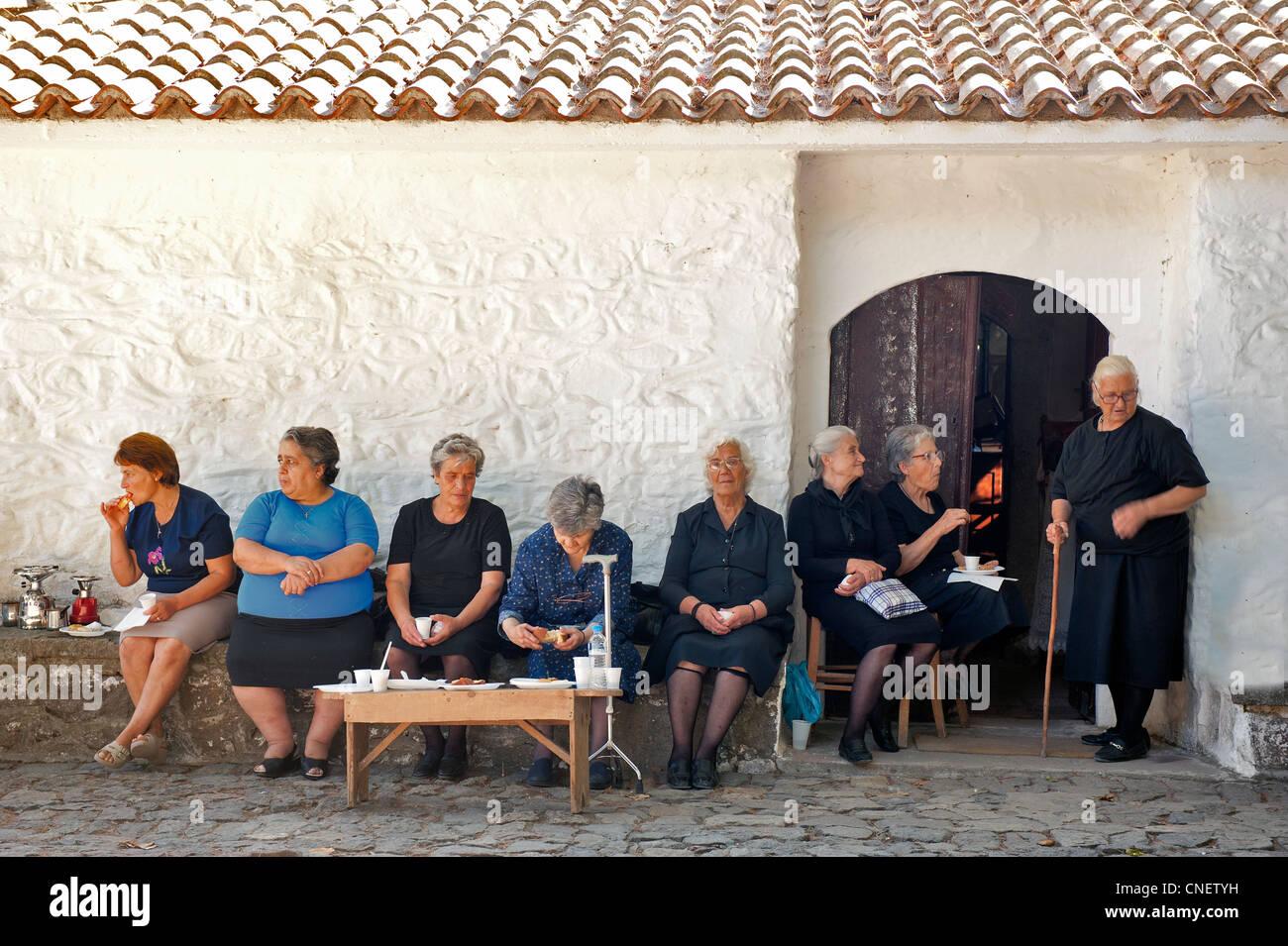Greek women in Per Volis Monastery Lesvos Greece - Stock Image