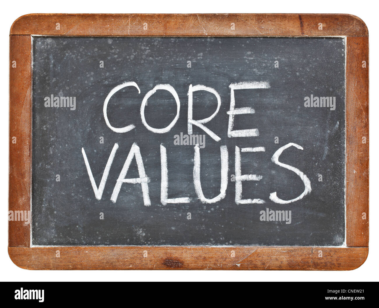core values phrase - white chalk handwriting on a vintage slate blackboard, isolated - Stock Image
