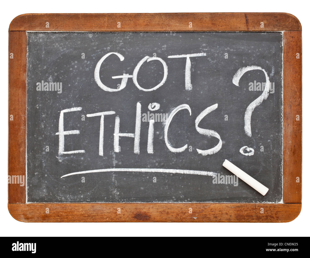 Got ethics question - white chalk handwriting on a vintage slate blackboard, isolated - Stock Image