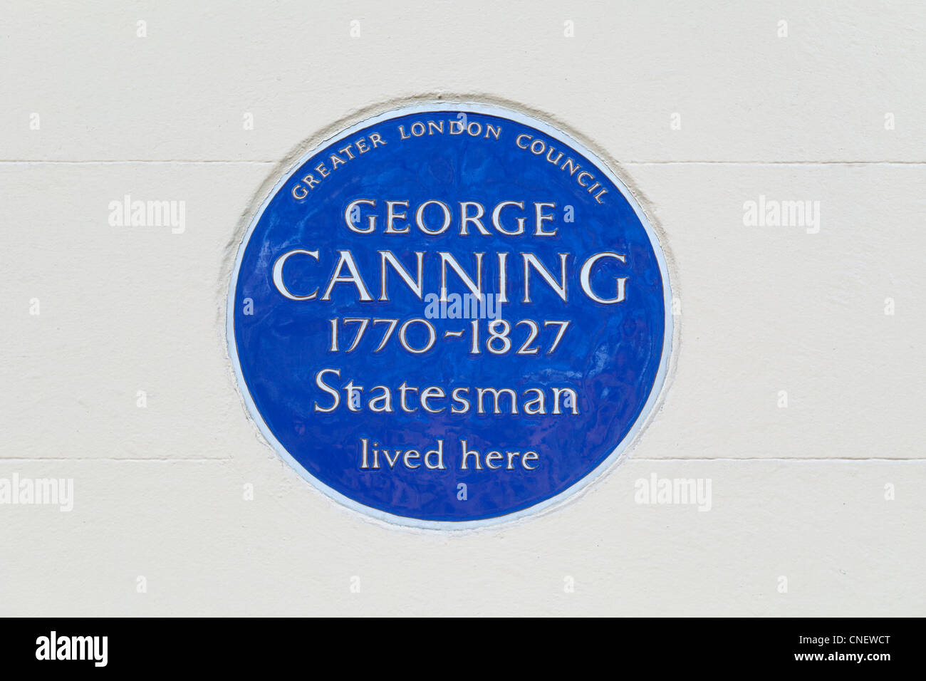 Blue plaque commemorating George Canning, London, England - Stock Image