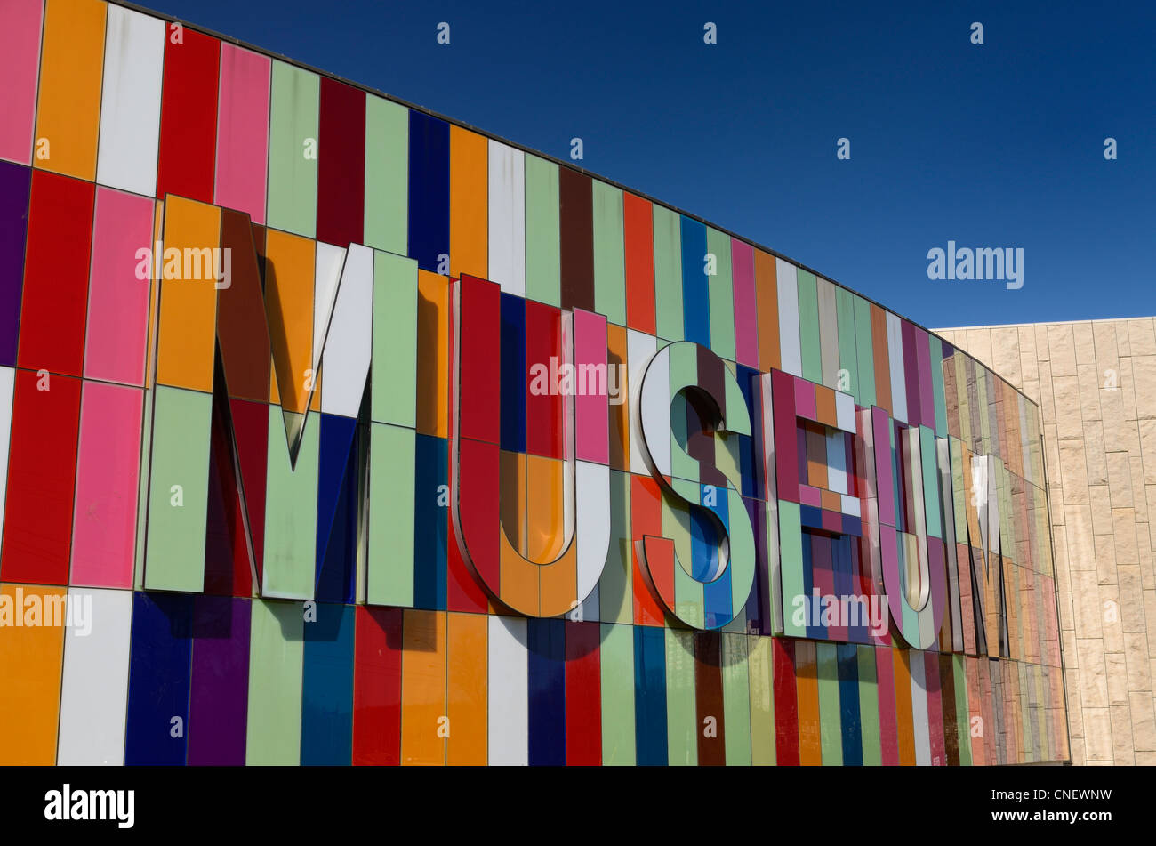 Colorful facade of the Waterloo Regional Museum in Kitchener Ontario Canada - Stock Image