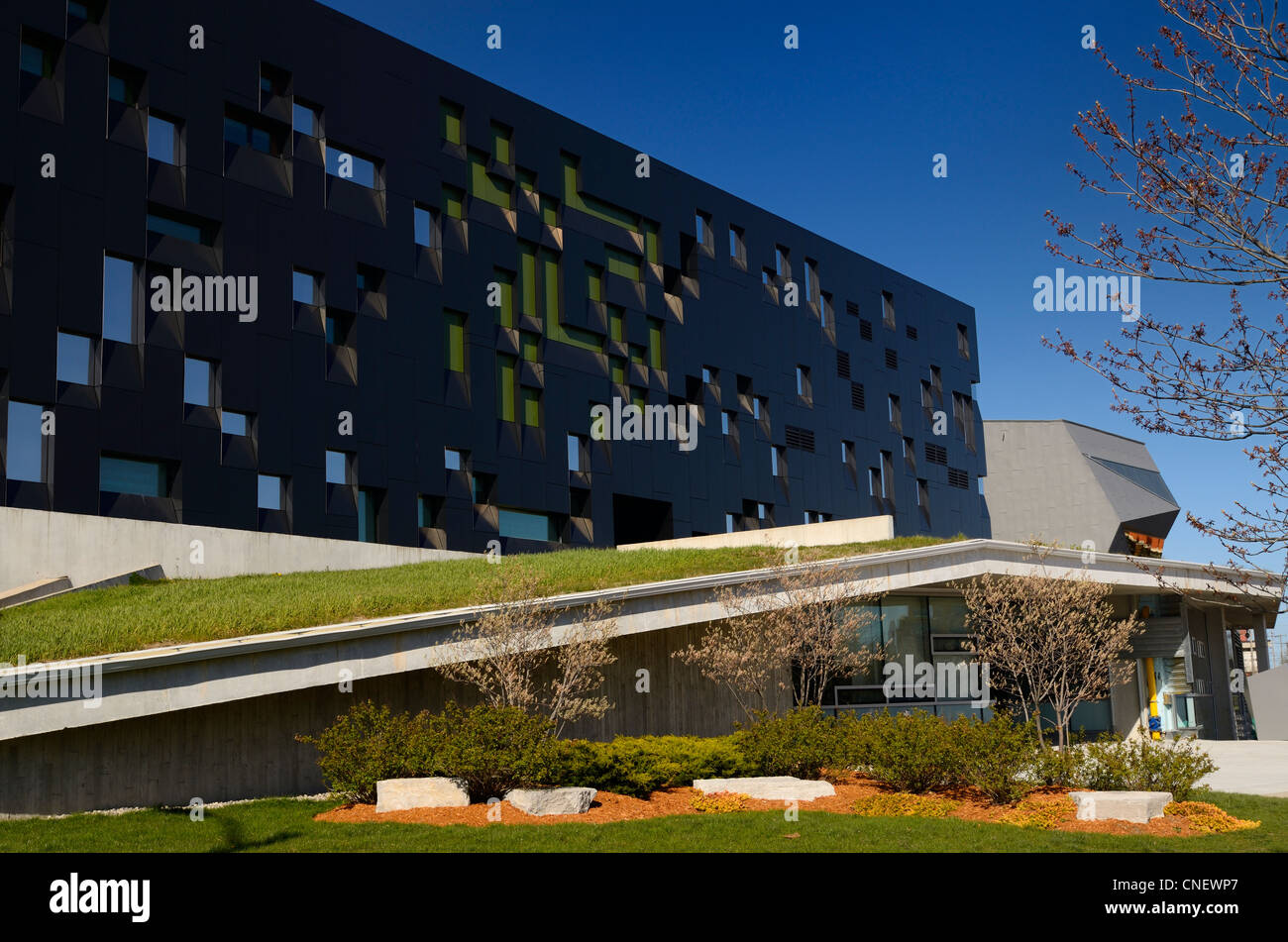 Futuristic architecture of the Perimeter Institute theoretical physics research building Waterloo Canada in Spring - Stock Image