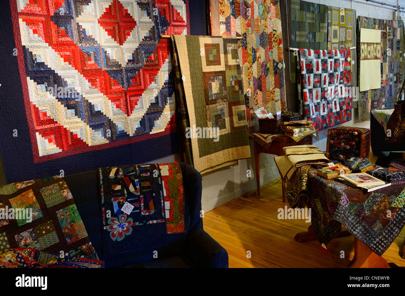 Quilt showroom in the Village Silos at The Mill craft shops and galleries in St Jacobs Ontario - Stock Image