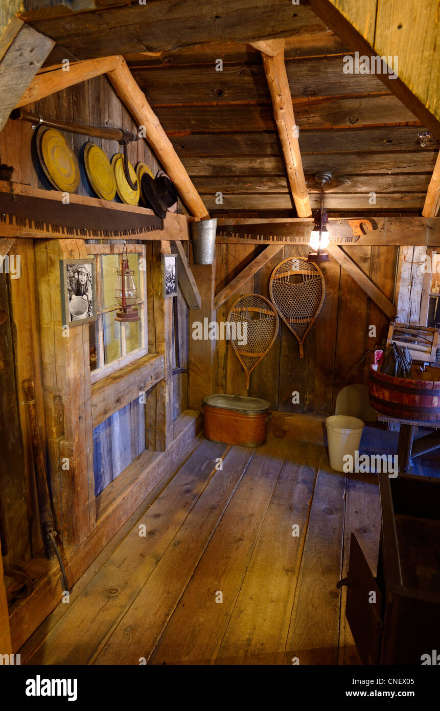 Maple syrup sugar shack at The Mill museum in St Jacobs Ontario - Stock Image