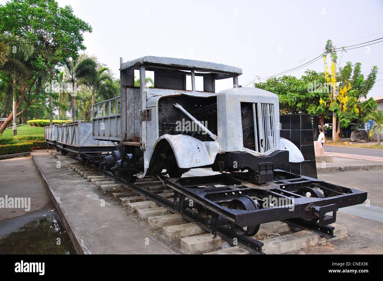 Relic truck mounted on railway carriage at The Bridge over the River Kwai, Kanchanaburi, Kanchanaburi Province, - Stock Image