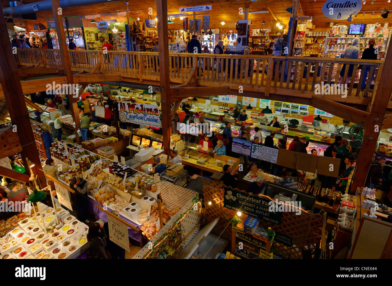 Homemade food and craft shops in the indoor St Jacobs Farmers Market Ontario - Stock Image
