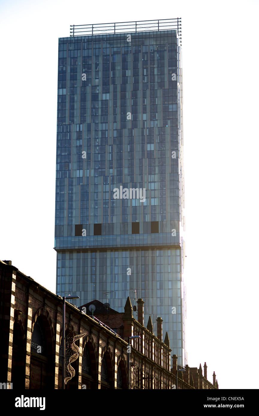 Beetham tower seen from Deansgate, Manchester. - Stock Image