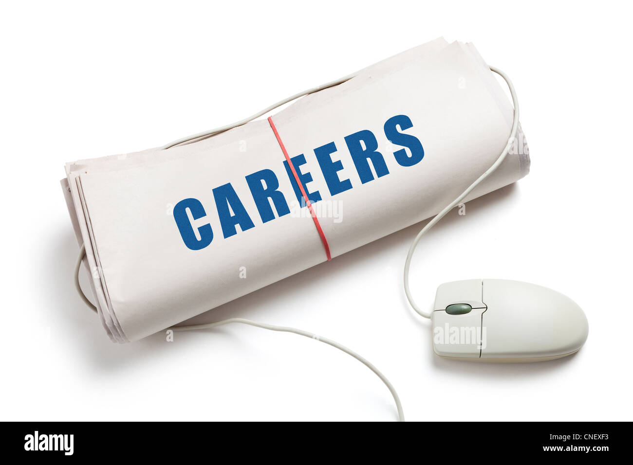 Careers, Computer mouse and Newspaper Roll with white background - Stock Image