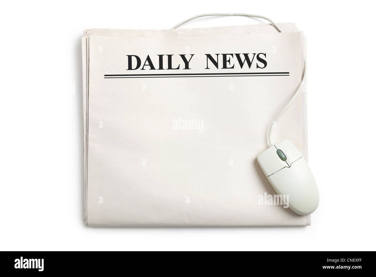 Computer mouse and Newspaper with white background - Stock Image