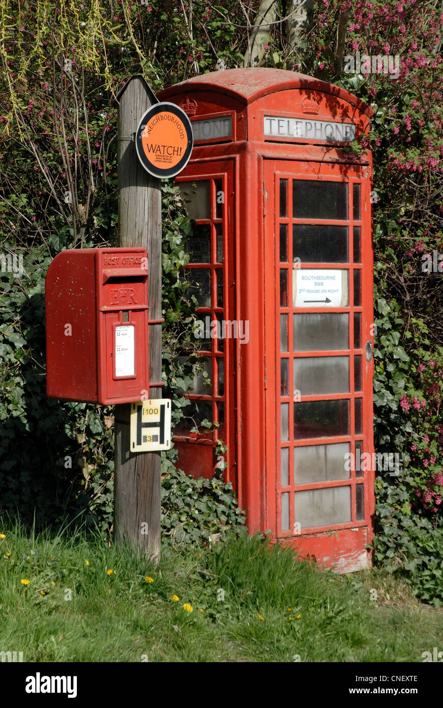 A post and telephone box taken in Kington, Herefordshire. - Stock Image