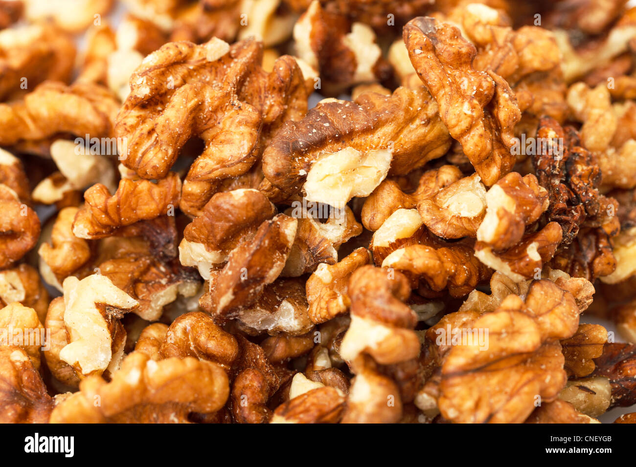 Heap Purified Walnuts closeup - Stock Image