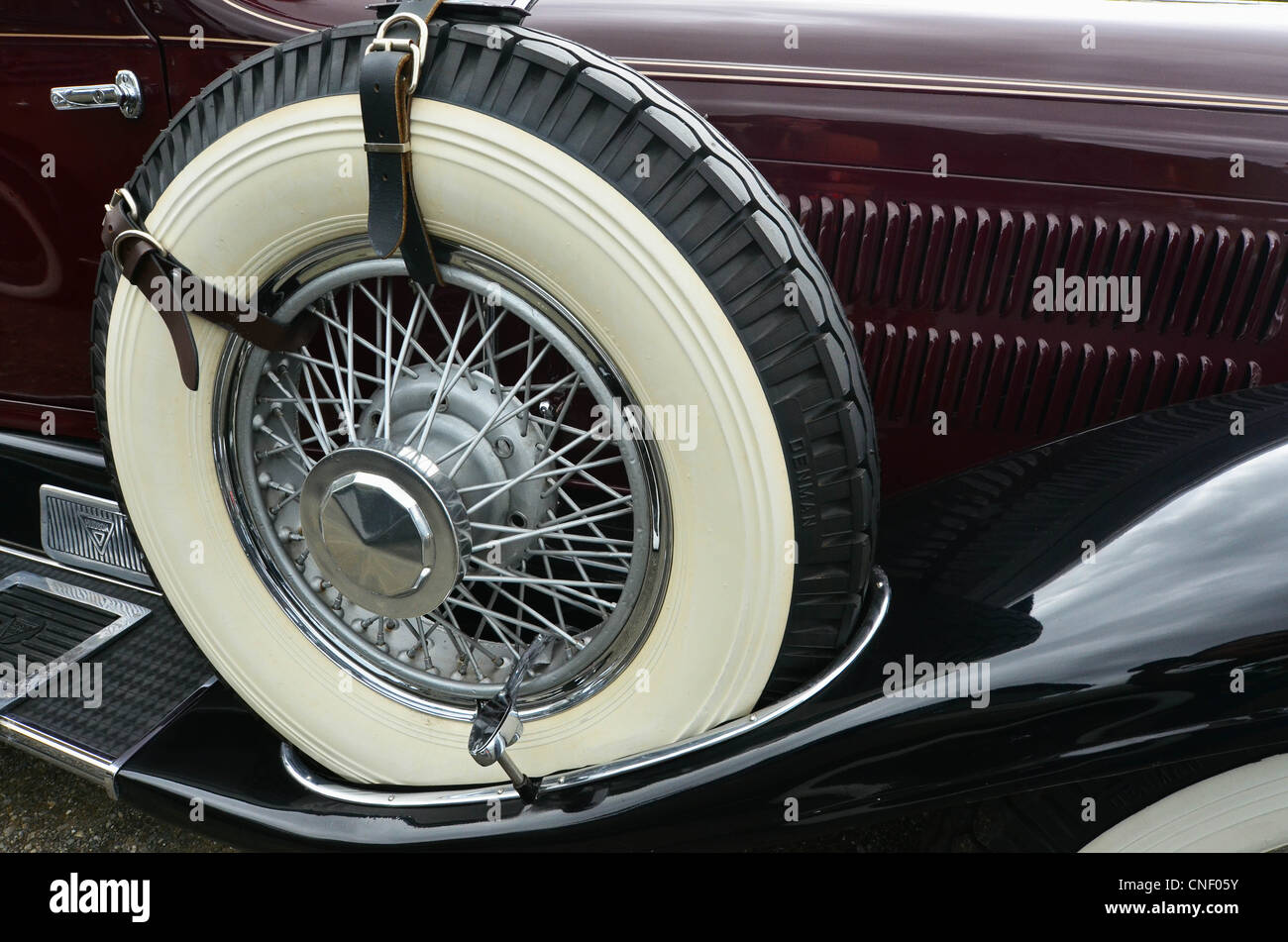 Classic Car close up with whitewall tyre. - Stock Image