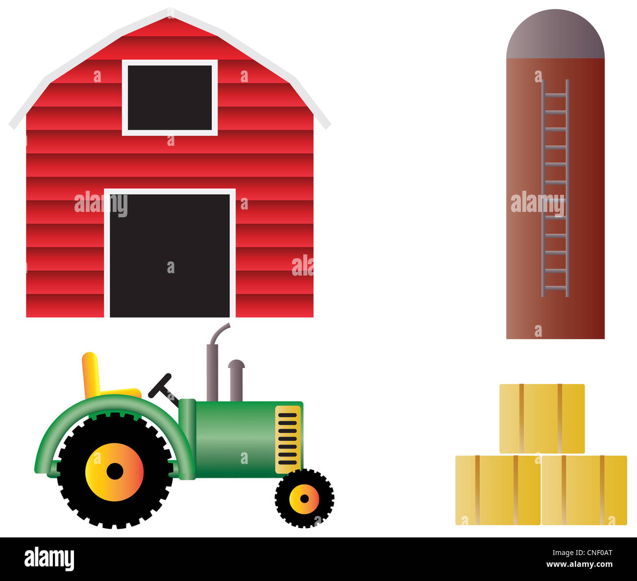 Farm With Red Barn Tractor Grain Silo And Hay Bales Illustration Isolated On White Background