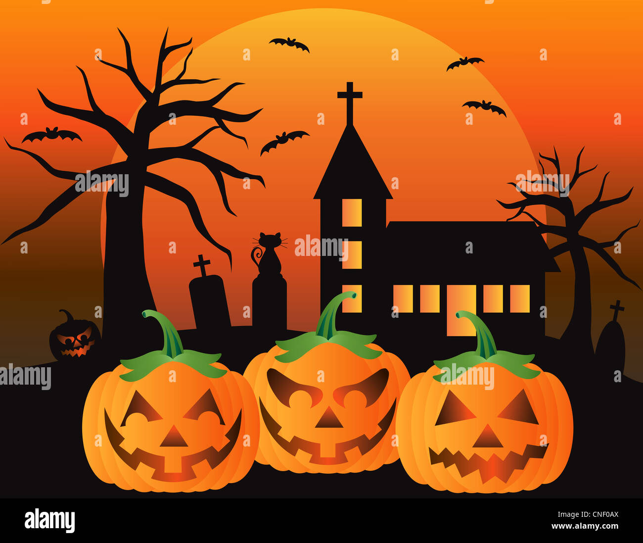 halloween jack o lantern pumpkins with church moon black cat and bats illustration