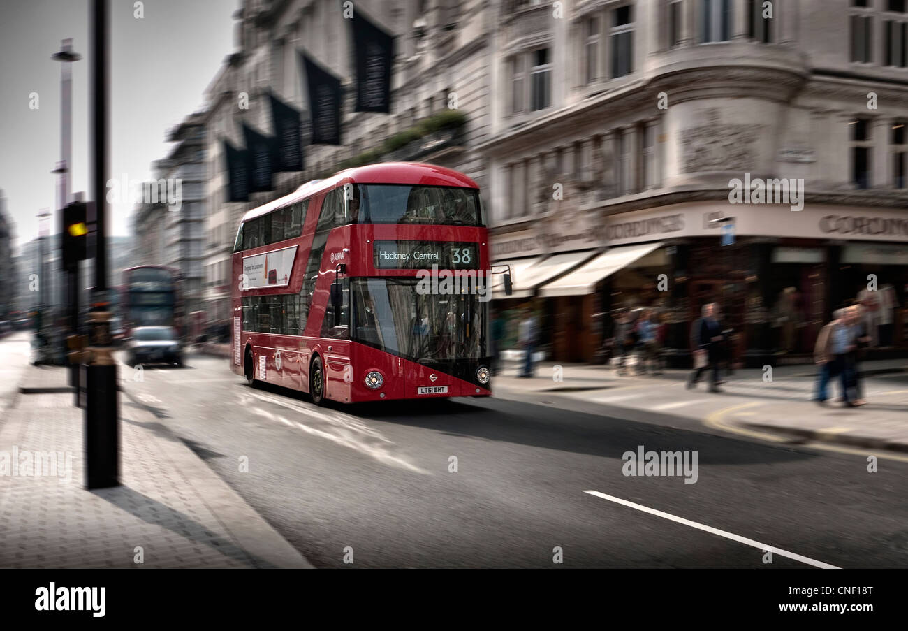 New Routemaster London Bus running on Route 38 in Piccadilly London W1 - Stock Image